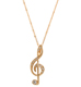 Gold Finish Treble Clef Necklace & Pendant
