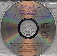26 Italian Songs and Arias: Medium High Voice - CD