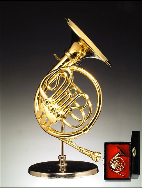 Miniature Gold Brass French Horn
