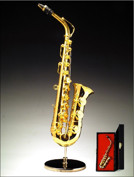 Miniature Gold Brass Saxophone