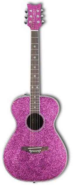 Daisy Rock Pixie Acoustic Guitar: Pink Sparkle