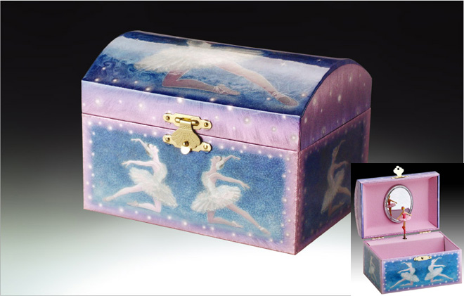 Blue Ballerina Music Jewelry Box