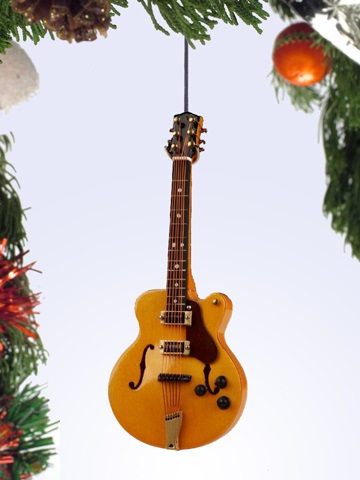 Yellow Hollow Body Electric Guitar Ornament