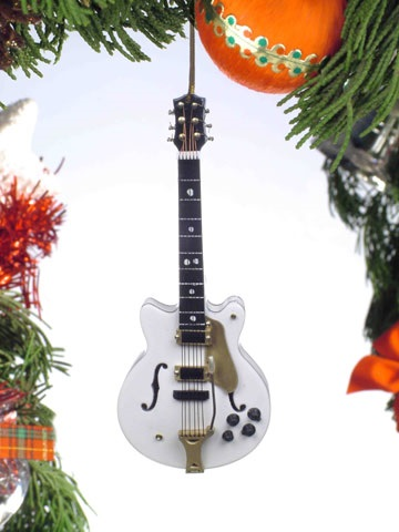 White Hollow Body Electric Guitar Ornament