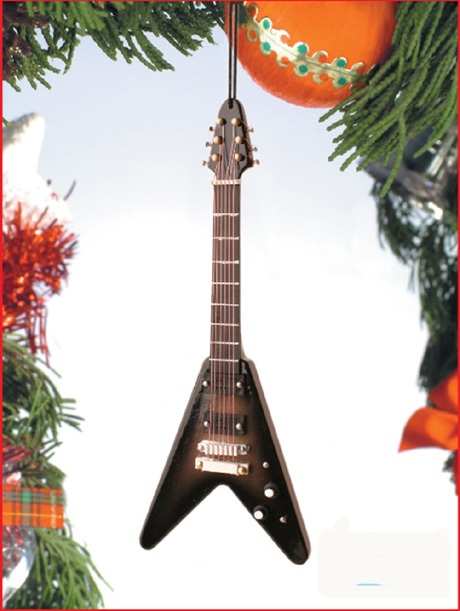 Brown V Electric Guitar Ornament