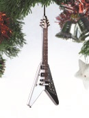 Black and White V Electric Guitar Ornament