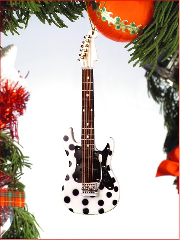 White and Black Polka Dot Electric Guitar  Ornament
