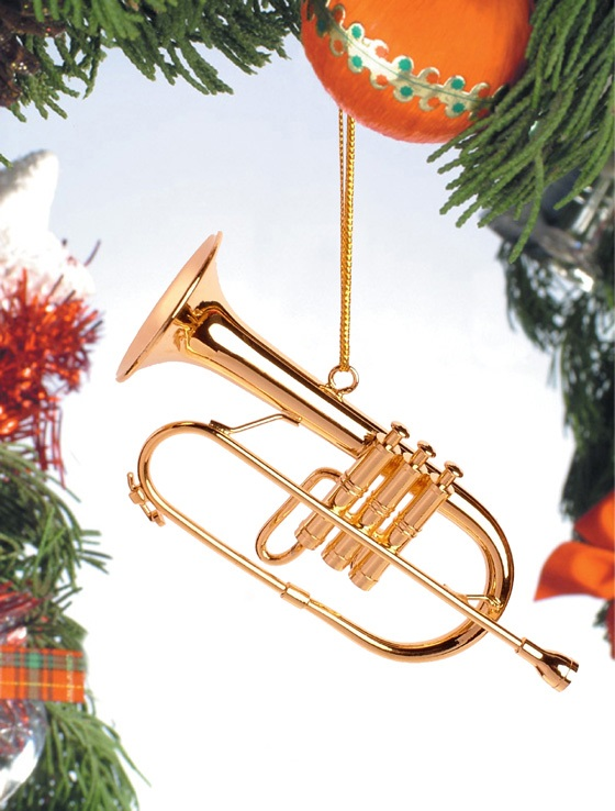 Gold Brass Flugelhorn Ornament