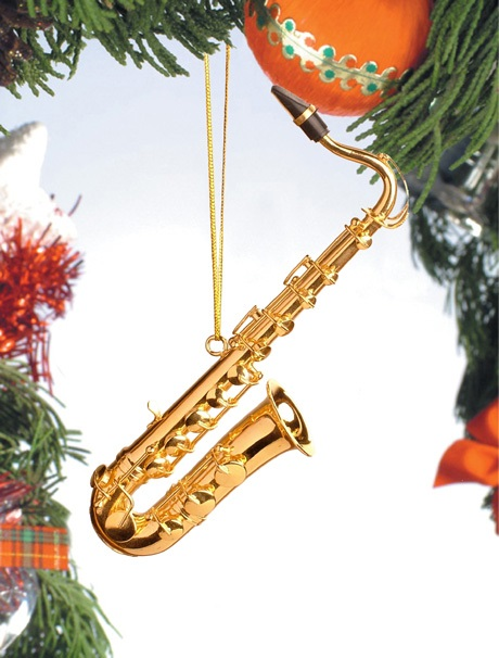 Gold Brass Tenor Saxophone Ornament