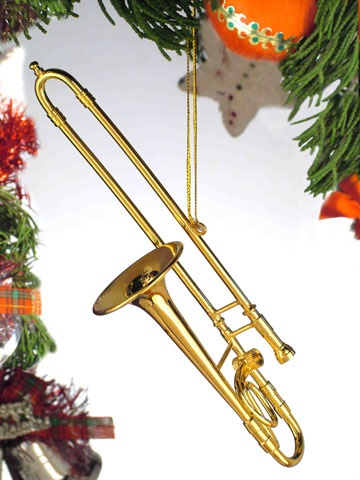 Gold Brass Trombone Ornament