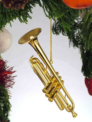 Gold Brass Trumpet Ornament