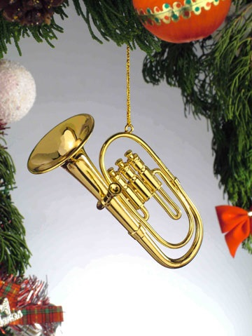 Gold Brass Tuba Ornament