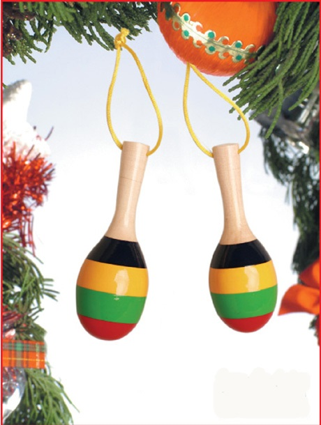 Stripe Maracas Ornament