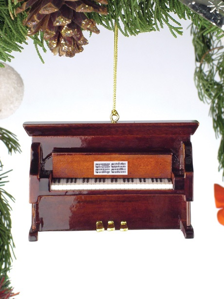 Brown Upright Piano Ornament