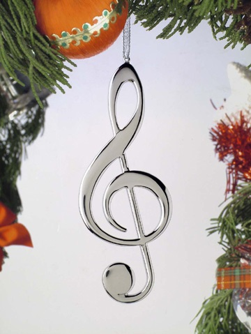 Silver Treble Clef Ornament