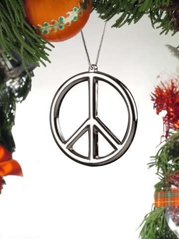 Silver Peace Sign Ornament