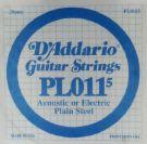 D'Addario Plain Steel .0115 Gauge Single String